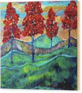 Red Maples On Green Hills With Name And Title Wood Print