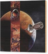 Red Mars Cover Painting Wood Print