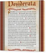 Red Matted Floral Scroll Desiderata Poem Wood Print