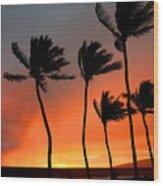 Red Maui Sunset Hawaii Wood Print