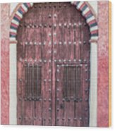 Red Medieval Wood Door Wood Print