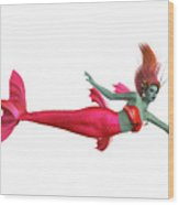 Red Mermaid On White Wood Print