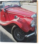 Red Mg Antique Car Wood Print