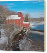 Red Mill In Winter Wood Print