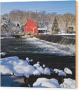 Red Mill In Winter Landscape Wood Print