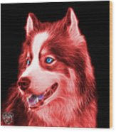 Red Modern Siberian Husky Dog Art - 6024 - Bb Wood Print