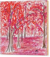 Red Mood Wood Print