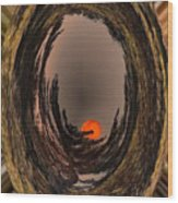 Red Moon Rising Wood Print
