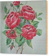 Red Morning Roses Wood Print