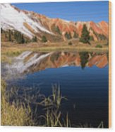 Red Mountain Reflection Wood Print