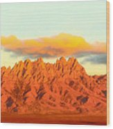 Red Mountain Sunset Organs Wood Print