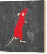 Red Mouse Wood Print