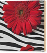 Red Mum And Red Lips Wood Print