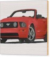 Red Mustang Wood Print