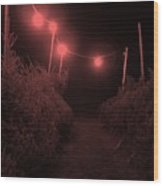 Red Night Wood Print