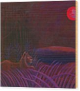 Red Night Painting 48 Wood Print