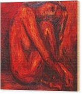 Red Nude Wood Print
