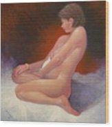 Red Nude Wood Print