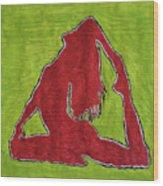 Red Nude Yoga Girl Wood Print