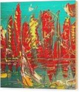 Red Nyc Wood Print