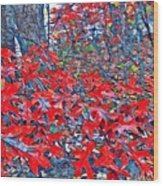 Red  Oak Leaves  Wood Print