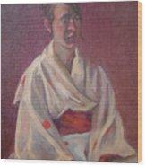 Red Obi Wood Print