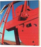 Red Oil Well Pump Oilfield Wood Print