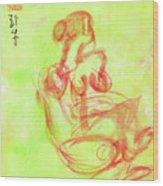 Red On Green Figure Wood Print