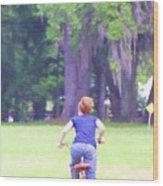 Red On Her Bike Wood Print