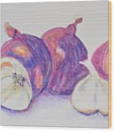Red Onions And Garlic Wood Print
