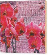 Red Orchids On Linen Zen Wood Print