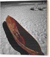Red Paddle Boat Playa Del Carmen Wood Print