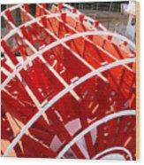 Red Paddle Wheel Wood Print