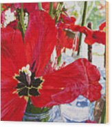 Red Party Flowers IIi Wood Print