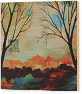 Red Tree Path Wood Print