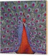 Red Peacock Wood Print