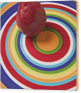 Red Pear On Circle Plate Wood Print