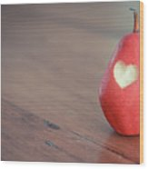 Red Pear With Heart Shape Bit Wood Print by Danielle Donders - Mothership Photography