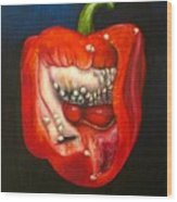 Red Pepper Oil Painting Wood Print