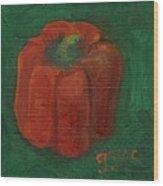 Red Pepper On Linen Wood Print