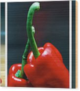Red Pepper Triptych Wood Print