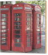 Red Phone Boxes. Wood Print