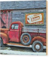 Red Pick Up Wood Print