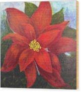 Red Poinsettia Wood Print