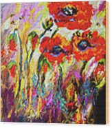Red Poppies And Bees Provence Dreams Wood Print