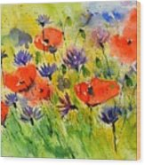 Red Poppies And Cornflowers Wood Print