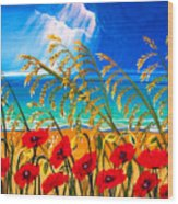 Red Poppies And Sea Oats By The Sea Wood Print