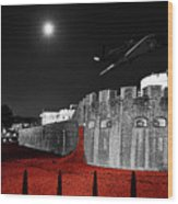 Red Poppies At Tower Of London With Spitfire Flypast Wood Print