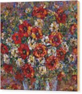 Red Poppies Bouquet Wood Print
