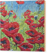 Red Poppies By Prankearts Wood Print